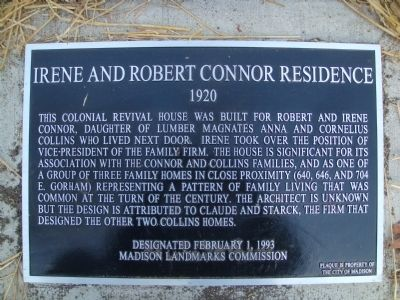 Irene and Robert Connor Residence Marker image. Click for full size.