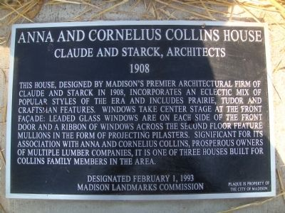 Anna and Cornelius Collins Residence Marker image. Click for full size.