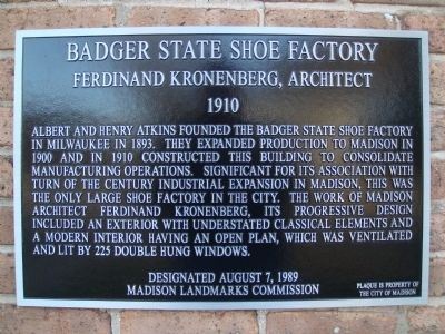 Badger State Shoe Factory Marker image. Click for full size.