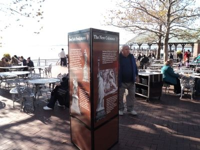 Marker on Liberty Island image. Click for full size.