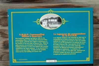 N.W.M.P. Commanding Officer�s Quarters Marker image. Click for full size.