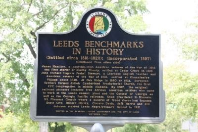 Leeds Benchmarks In History Marker (Reverse) image. Click for full size.