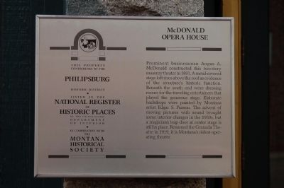 McDonald Opera House Marker image. Click for full size.
