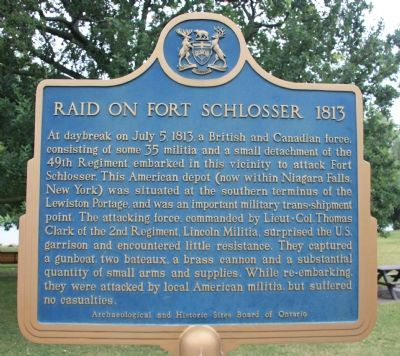 Raid on Fort Schlosser 1813 Marker image. Click for full size.
