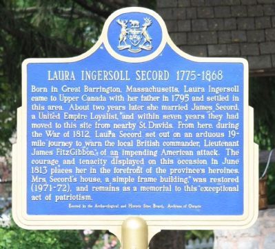 Laura Ingersoll Secord 1775-1868 Marker image. Click for full size.