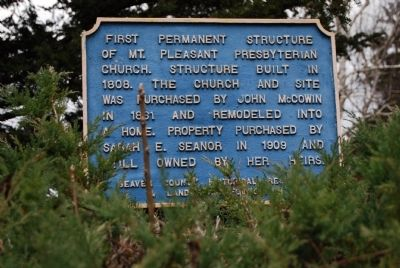 First Permanent Structure of Mt. Pleasant Presbyterian Church Marker image. Click for full size.