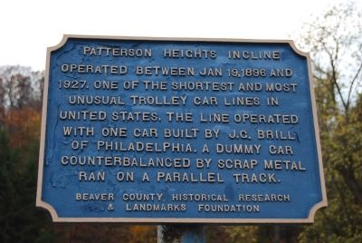 Patterson Heights Incline Marker image. Click for full size.