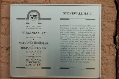Stonewall Hall Marker image. Click for full size.