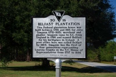 Belfast Plantation Marker<br>Front Photo, Click for full size