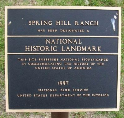 Spring Hill Ranch NHL Marker image. Click for full size.