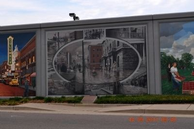 Paducah 1937 Flood Marker & Mural image. Click for full size.