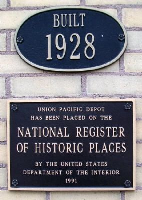 Union Pacific Depot NRHP Marker image. Click for full size.