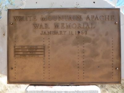 White Mountain Apache War Memorial Marker Plaque image. Click for full size.