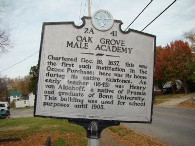 Oak Grove Male Academy Marker image. Click for full size.