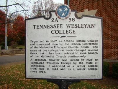 Tennessee Wesleyan College Marker image. Click for full size.