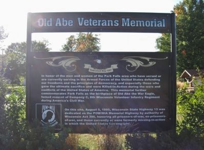 Park Falls Veterans Memorial Marker image. Click for full size.