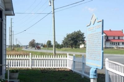 Cokesbury Church Marker, looking west along Seashore Highway (DE 404) image. Click for full size.