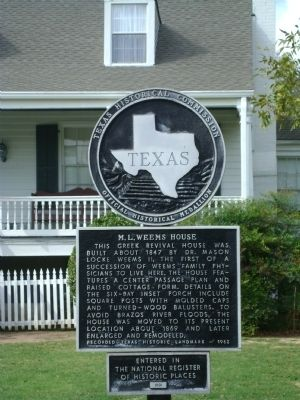 M. L. Weems House Marker image. Click for full size.