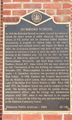 Gumboro School Marker image. Click for full size.