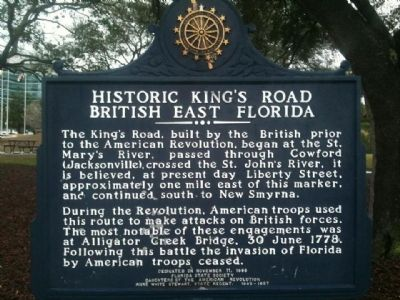 Historic King's Road British East Florida Marker image. Click for full size.