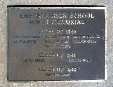 Emporia High School Classes 1940-41-42 WWII Memorial image. Click for full size.
