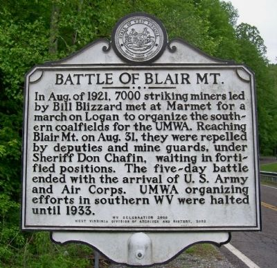 Battle of Blair Mountain Marker image. Click for full size.
