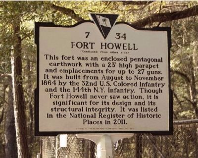 Fort Howell Marker, reverse side image. Click for full size.