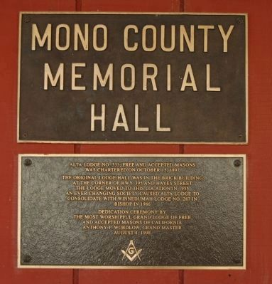 Mono County Memorial Hall Marker image. Click for full size.