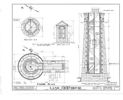 Erie Land Lighthouse Section Drawings image. Click for full size.
