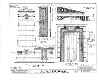 Erie Land Lighthouse Architectural Drawings image. Click for full size.