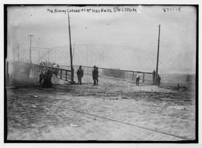 "Steel strikers at the ""Bloody Corner of McKees Rocks"" image. Click for full size."