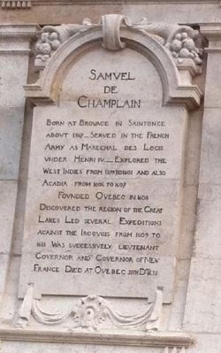 Champlain Monument - text on west side of pedestal image. Click for full size.
