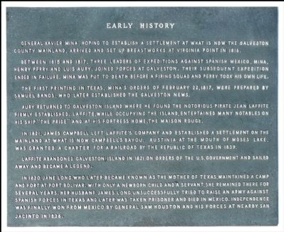 [Galveston] Early History Marker image. Click for full size.
