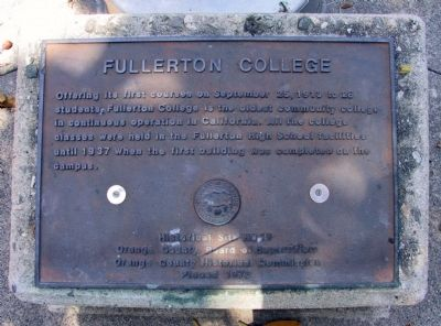 Fullerton College Marker image. Click for full size.