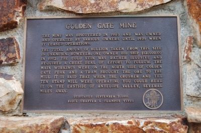 The Golden Gate Mine Marker image. Click for full size.