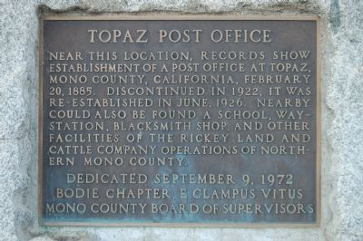 Topaz Post Office Marker image. Click for full size.