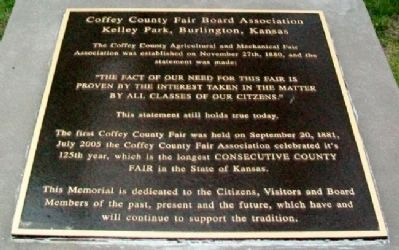 Coffey County Fair Marker image. Click for full size.