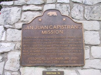 San Juan Capistrano Mission Marker image. Click for full size.