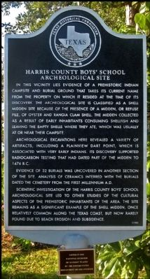 Harris County Boys' School Archeological Site Marker image. Click for full size.