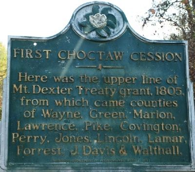 First Choctaw Cession Marker image. Click for full size.