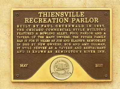 Thiensville Recreation Parlor Marker image. Click for full size.
