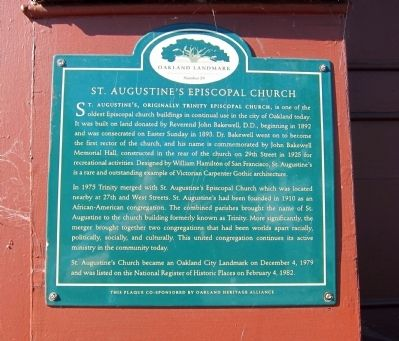 St. Augustine's Episcopal Church Marker image. Click for full size.
