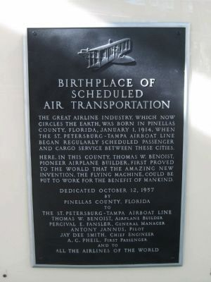 Birthplace of Scheduled Transportation Plaque Photo, Click for full size