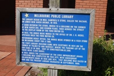 Melbourne Public Library Marker image. Click for full size.