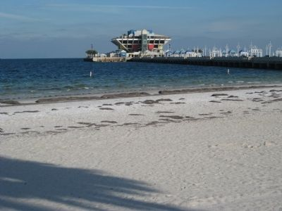 The St. Pete Pier and shore of Tampa Bay image. Click for full size.