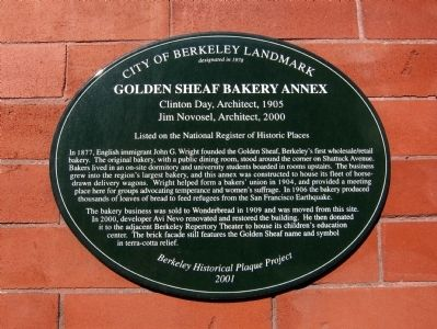 Golden Sheaf Bakery Annex Marker Photo, Click for full size