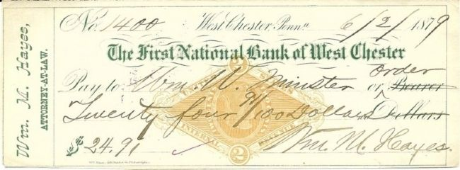1879 - check from, The First National Bank of West Chester image. Click for full size.