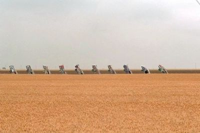 Cadillac Ranch seen from I-40 image. Click for full size.