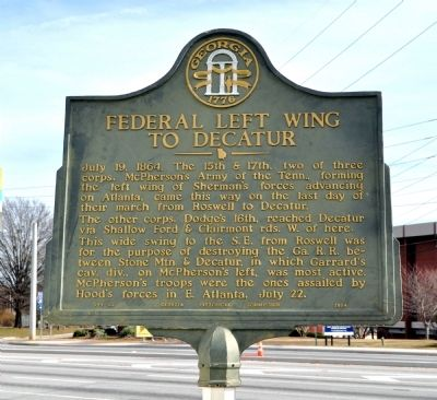 Federal Left Wing to Decatur Marker image. Click for full size.