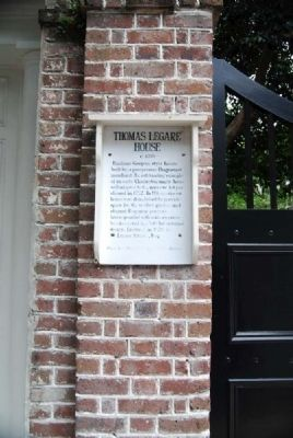 Thomas Legare House Marker image. Click for full size.